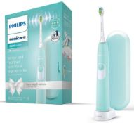 RRP £45 Philips Sonicare DailyClean 3500 Electric Toothbrush, Mint Green, with Travel Case and Optim