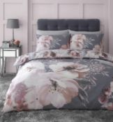 RRP £23 Catherine Lansfield Dramatic Floral Easy Care King Duvet Set Grey