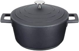 RRP £30 MasterClass Lightweight Casserole Dish with Lid, Cast Aluminium, Black, 2.5 Litre / 20 cm
