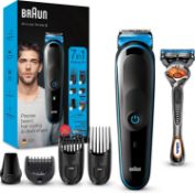 RRP £25 Braun 7-in-1 All-in-one Trimmer 3 MGK3245, Beard Trimmer for Men, Hair Clipper and Face Trim