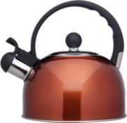 KitchenCraft Le'Xpress Induction Safe Whistling Stovetop Kettle, Stainless Steel, Copper Finish, 1.3