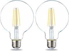 AmazonBasics LED E27 Edison Screw Globe G93 Bulb, 7W (equivalent to 60W), Clear Filament, Pack of 2