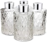 Frandy House Glass Diffuser Bottles Floral Design with Silver Caps Refillable Diffuser Jars Set of 4