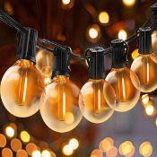 Svater G40 LED String Lights 36Ft with 20Pcs LED Globe Bulbs 20Pcs Hanging Socket,IP45 Festoon Strin