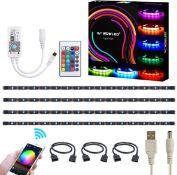 WOWLED WiFi Smart USB RGB LED TV Backlight Strip, Compatible with Alexa and Google Home, 4pcs Flexib