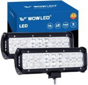 "WOWLED Work Light Bar, 2 Pcs 9"" 54W Combo Beam CREE LED Work Lights, Spot Flood Fog Lamp for Offroad"