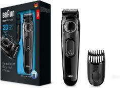 Braun Beard Trimmer BT3022 Beard Trimmer and Hair Clipper Lifetime Sharp Blades, 2 pin plug