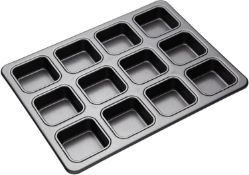 MasterClass Brownie Tin with Dividers, PFOA Free Non Stick Carbon Steel Baking Pan to Make 12 Cakes,
