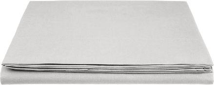 AmazonBasics Everyday 100% Cotton Flat Sheet,Light Gray,275 x 275 cm
