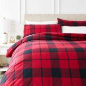RRP £38 - AmazonBasics Flannel Duvet Cover Set - 230 x 220 cm / 50 x 80 cm x 2, Red Plaid