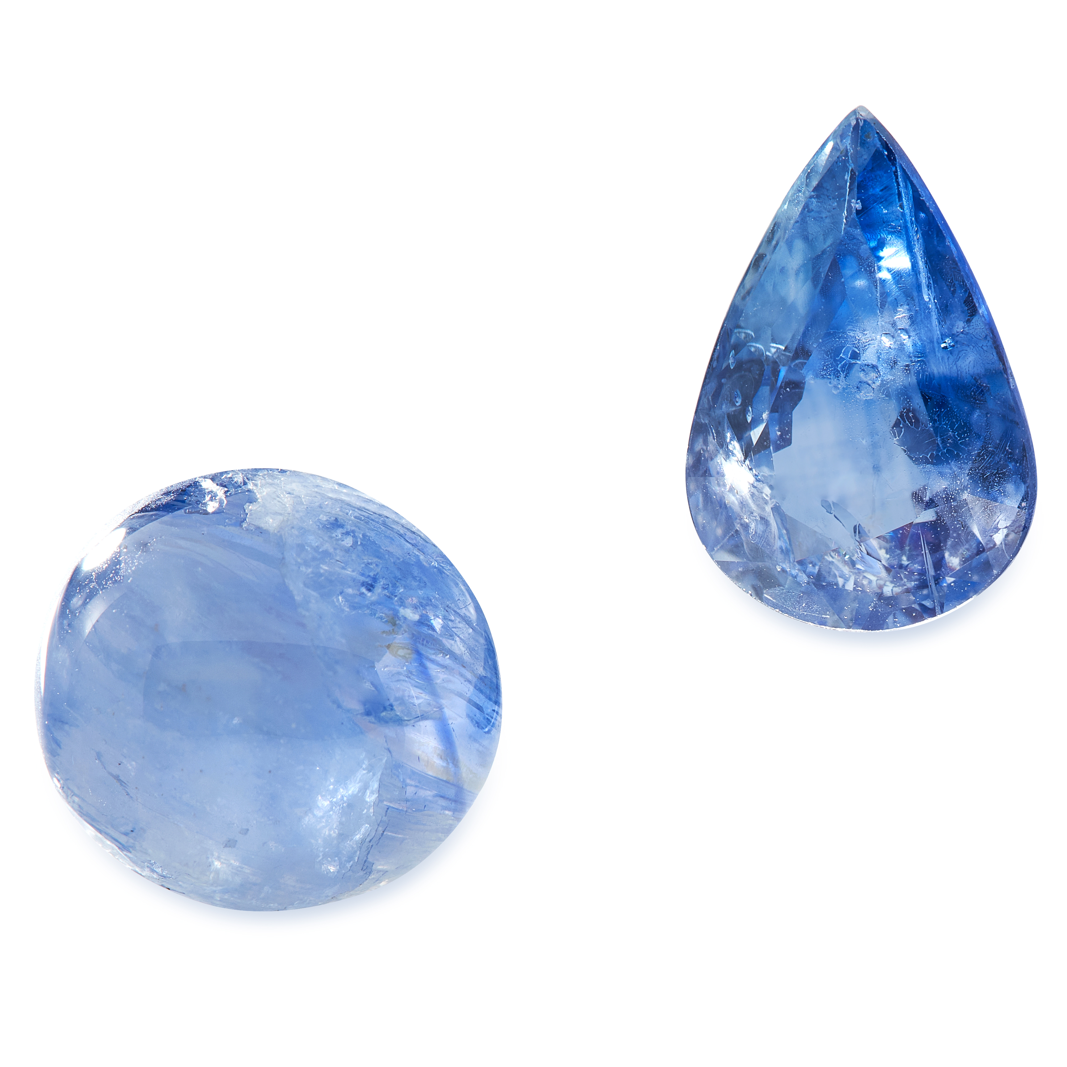 TWO UNMOUNTED TANZANITE one pear cut, one cabochon, totalling 7.30 carats.