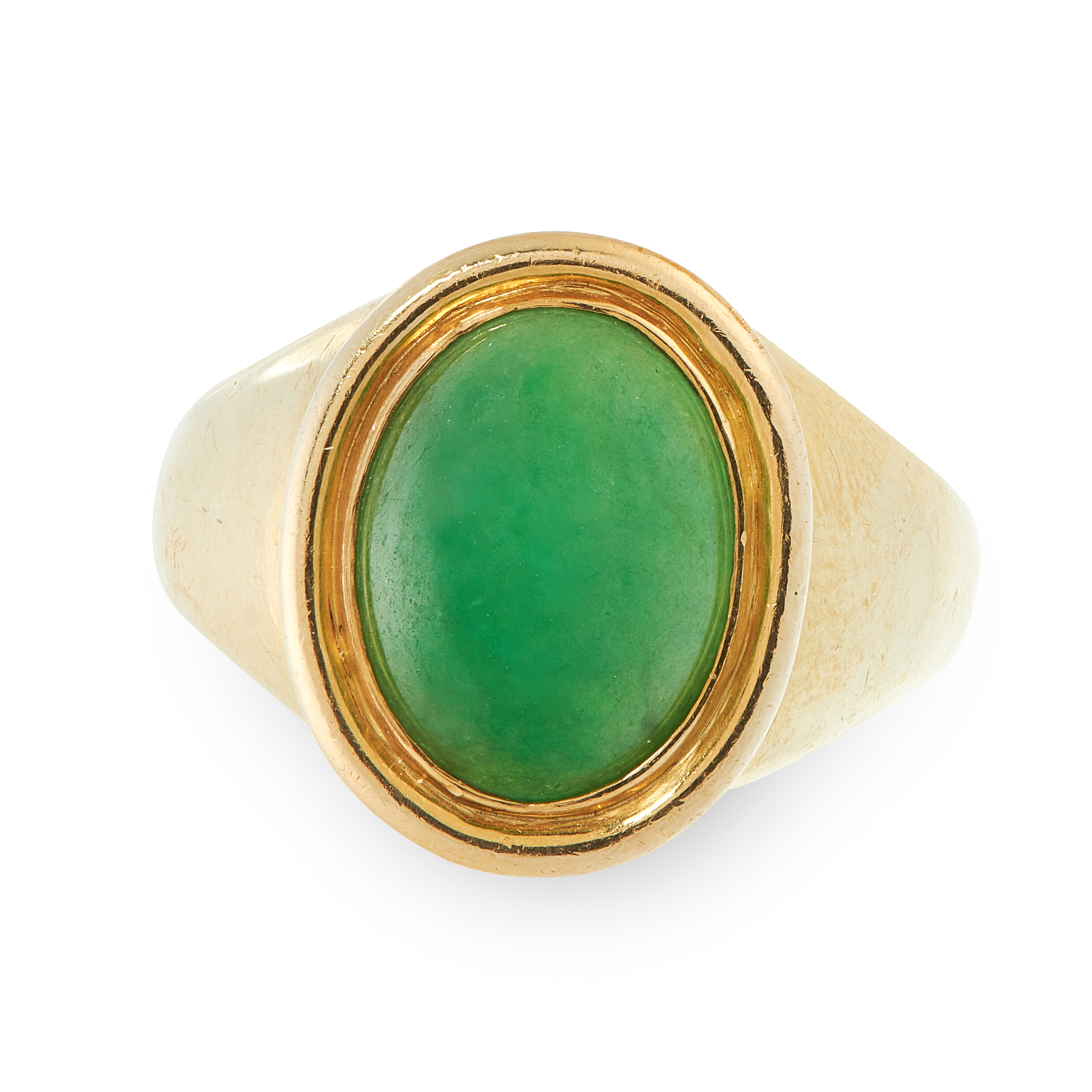 A NATURAL JADEITE JADE DRESS RING in 18ct yellow gold, the tapering band set with an oval jadeite