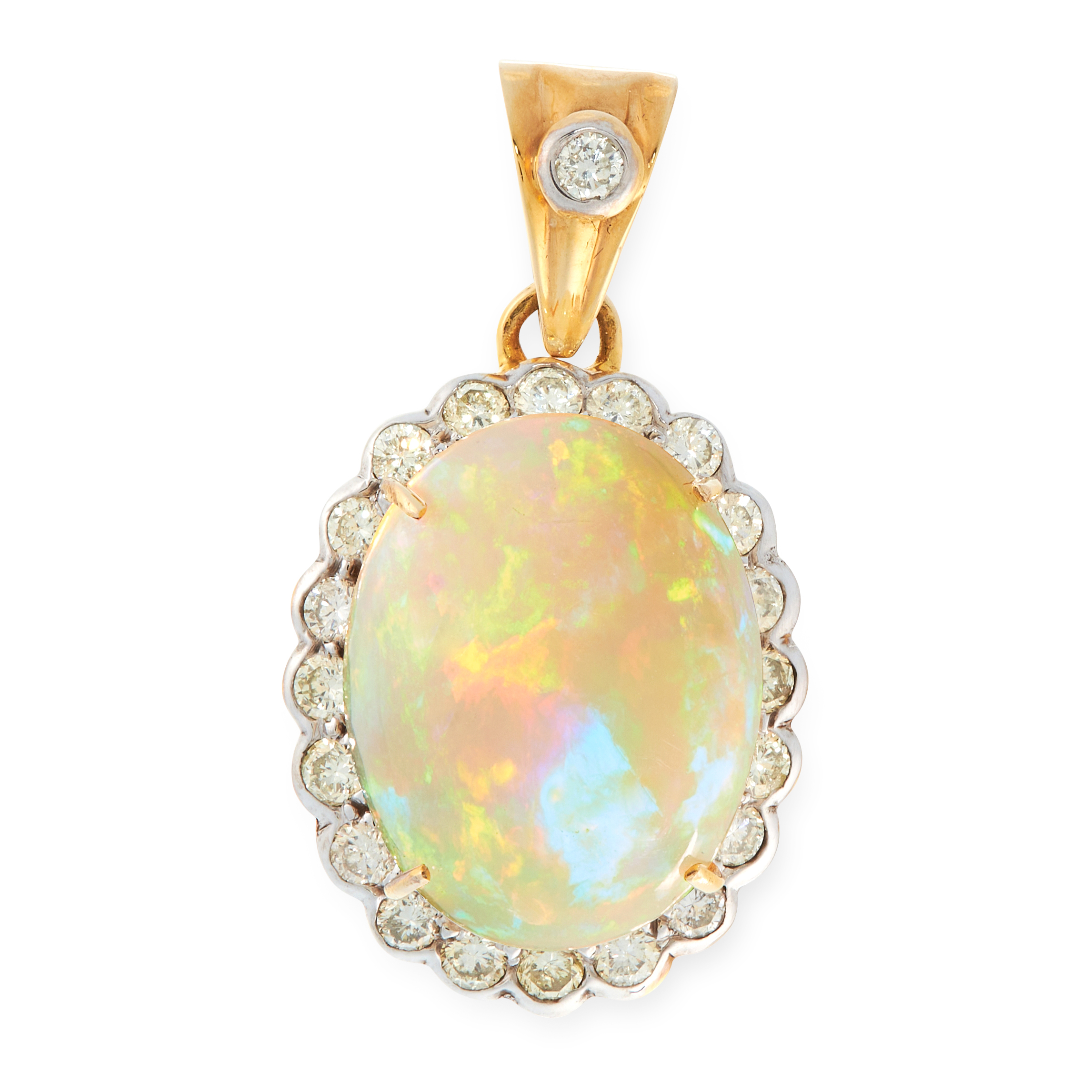 AN OPAL AND DIAMOND PENDANT in high carat yellow gold, set with an oval cabochon opal of 7.18 carats