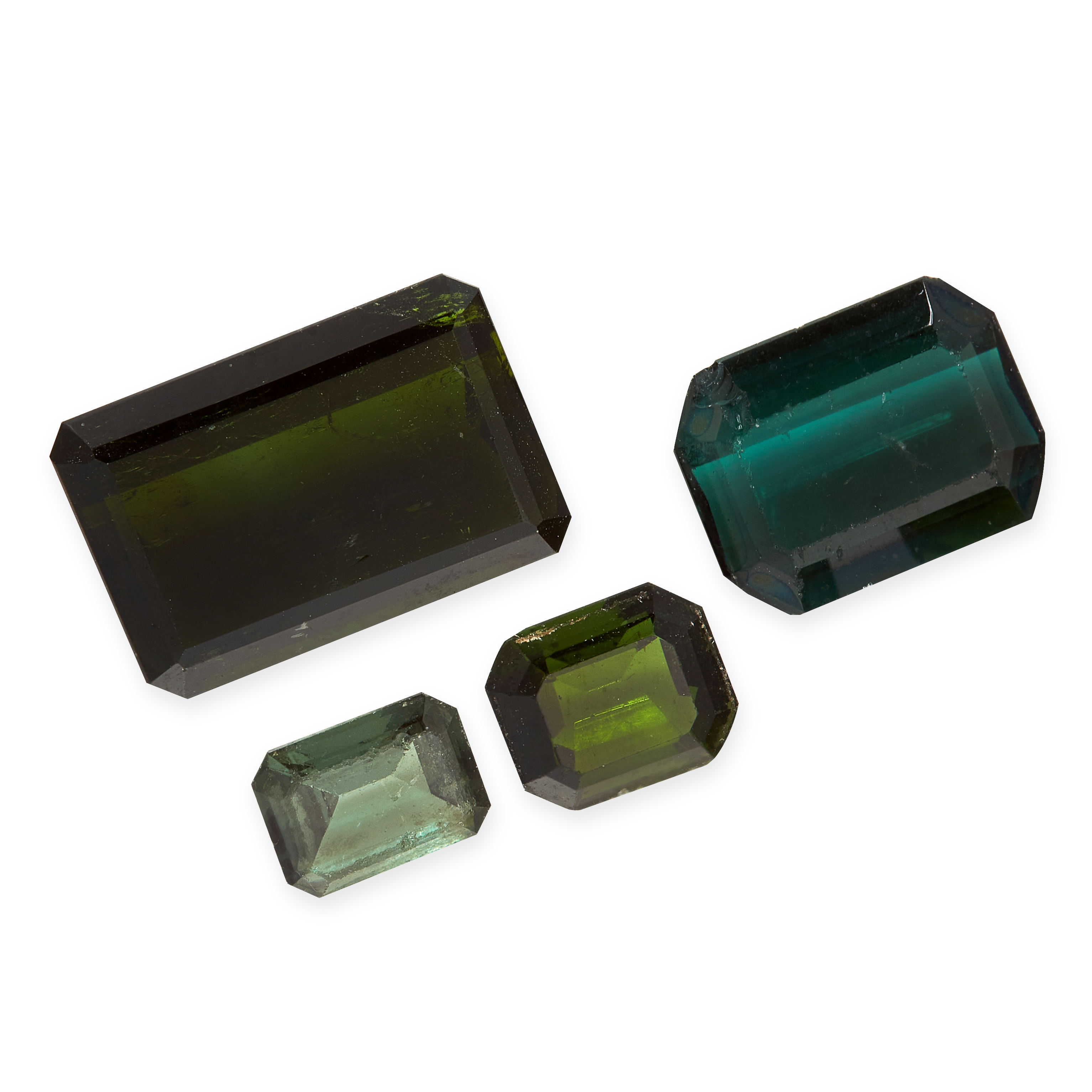 A MIXED LOT OF UNMOUNTED GREEN TOURMALINE emerald cut, various sizes, totalling 20.44 carats.
