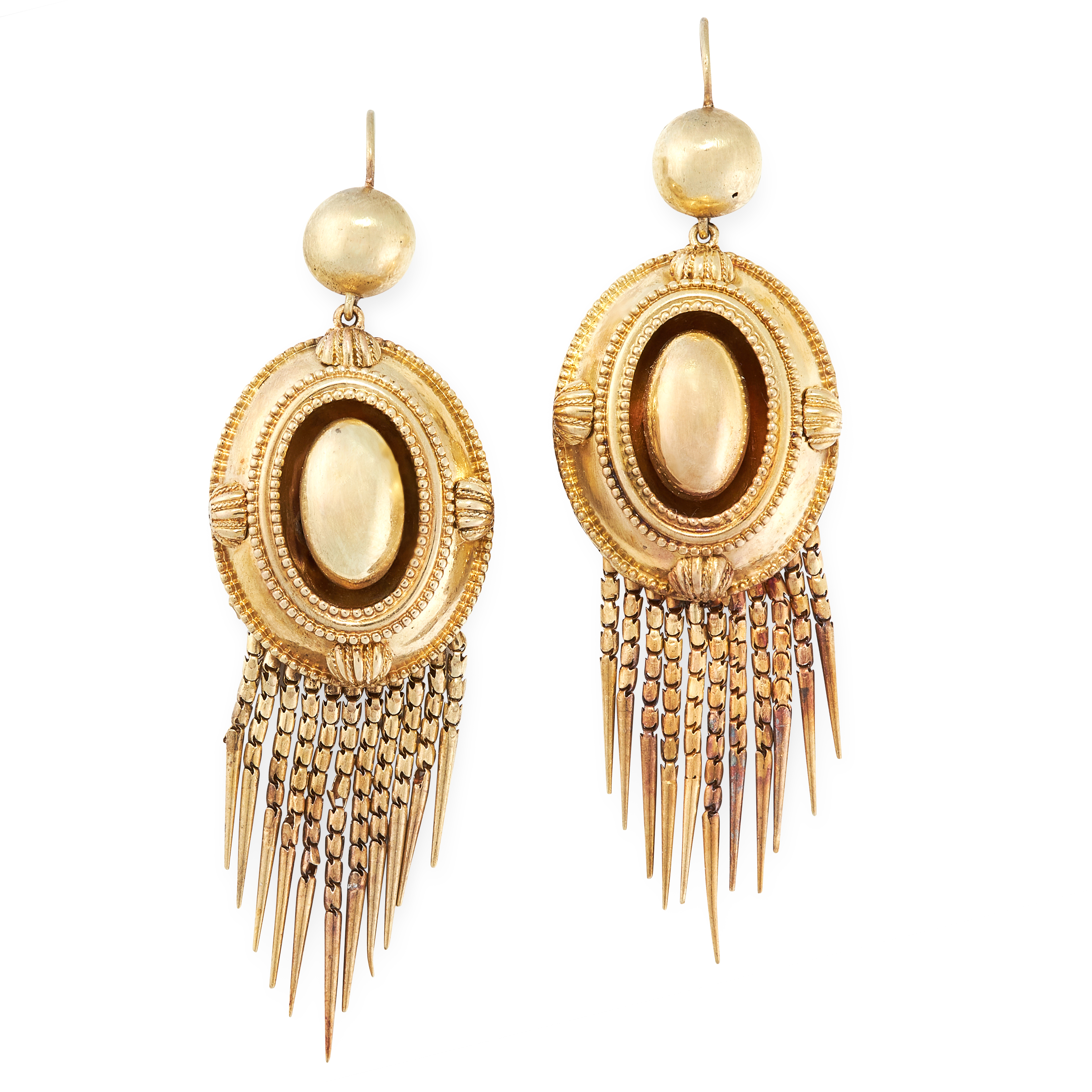 A PAIR OF ANTIQUE TASSEL EARRINGS, 19TH CENTURY in yellow gold, the oval bodies with beaded and