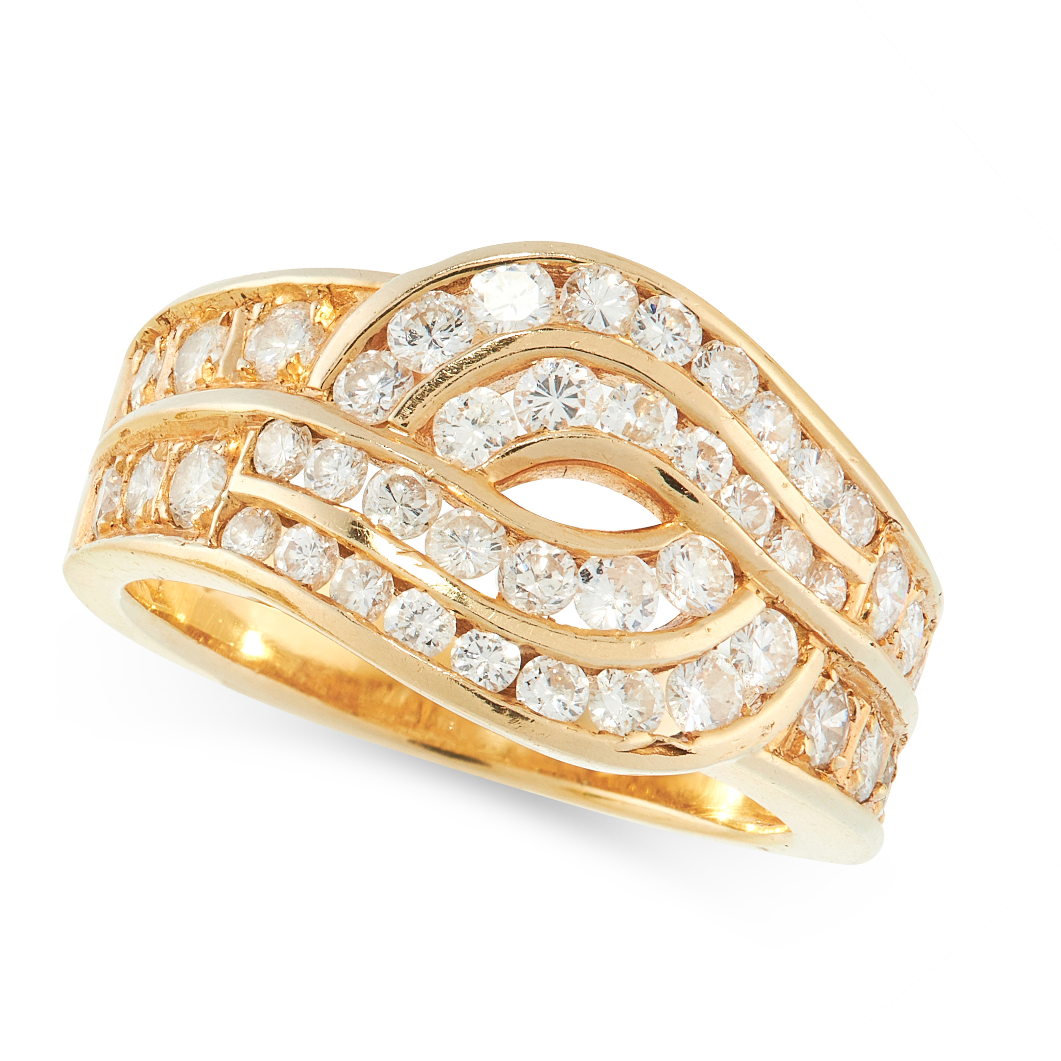 A DIAMOND DRESS RING in 18ct yellow gold, the knotted design set with rows of round cut diamonds all