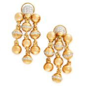 A PAIR OF DIAMOND CHANDELIER EARRINGS in 18ct yellow gold, each designed as three rows of gold