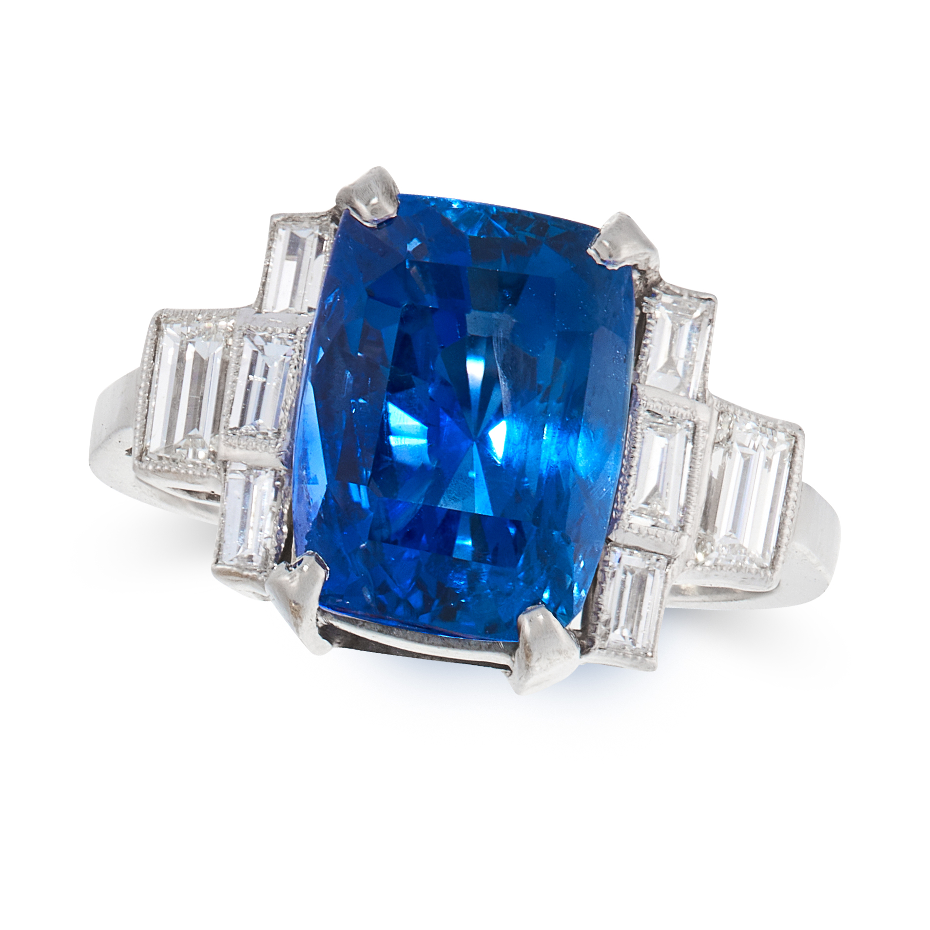 AN UNHEATED SAPPHIRE AND DIAMOND DRESS RING in platinum, set with a mixed step cut blue sapphire