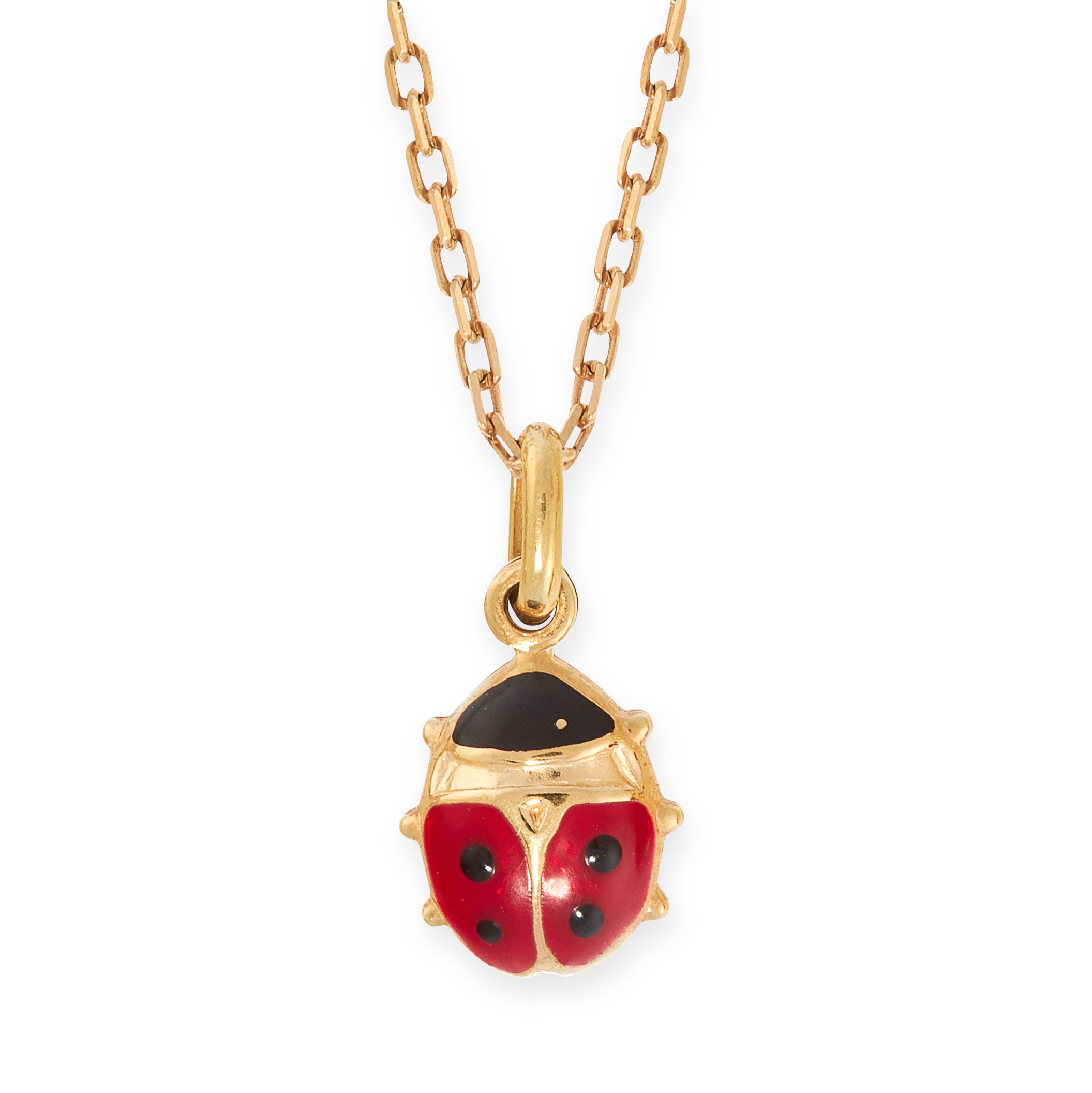 AN ENAMEL LADY BIRD PENDANT AND CHAIN in 18ct yellow gold, designed as a lady bird, with red and
