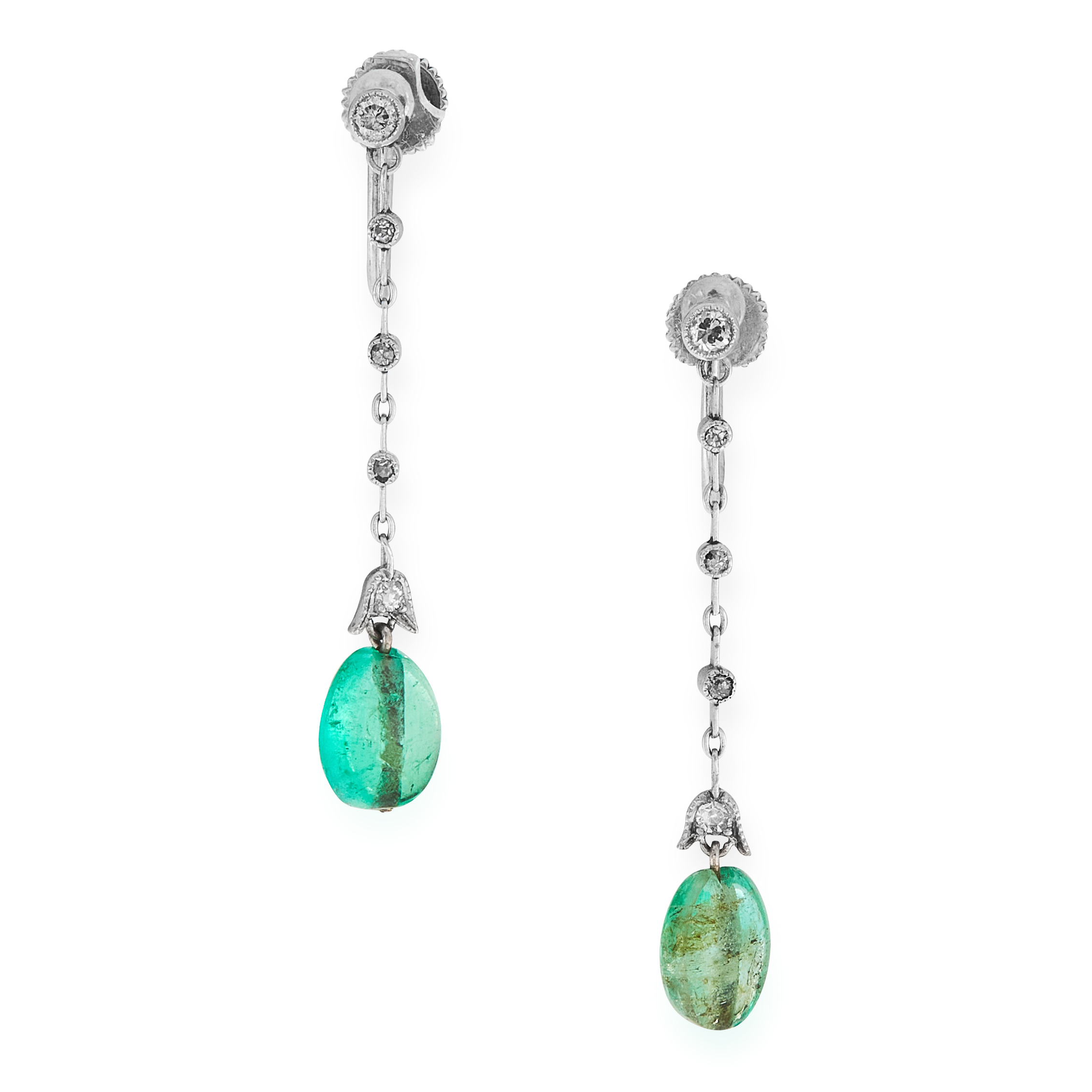 A PAIR OF EMERALD AND DIAMOND DROP EARRINGS each set with a polished emerald bead below a series