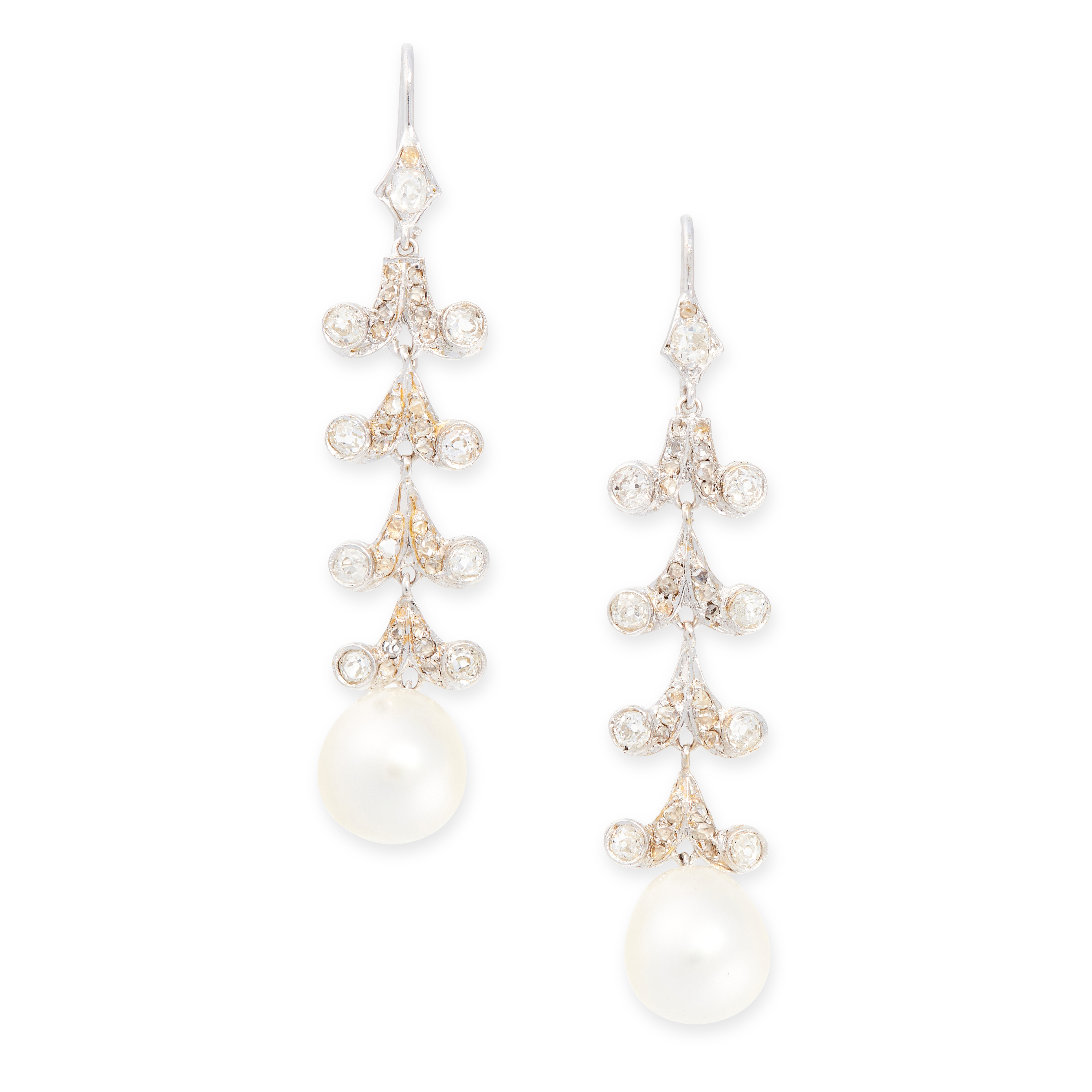 A PAIR OF PEARL AND DIAMOND EARRINGS each set with a pearl of 11.5mm, below scrolling links set with