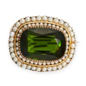 AN ANTIQUE GREEN TOURMALINE AND PEARL BROOCH, 19TH CENTURY in yellow gold, set with a cushion cut