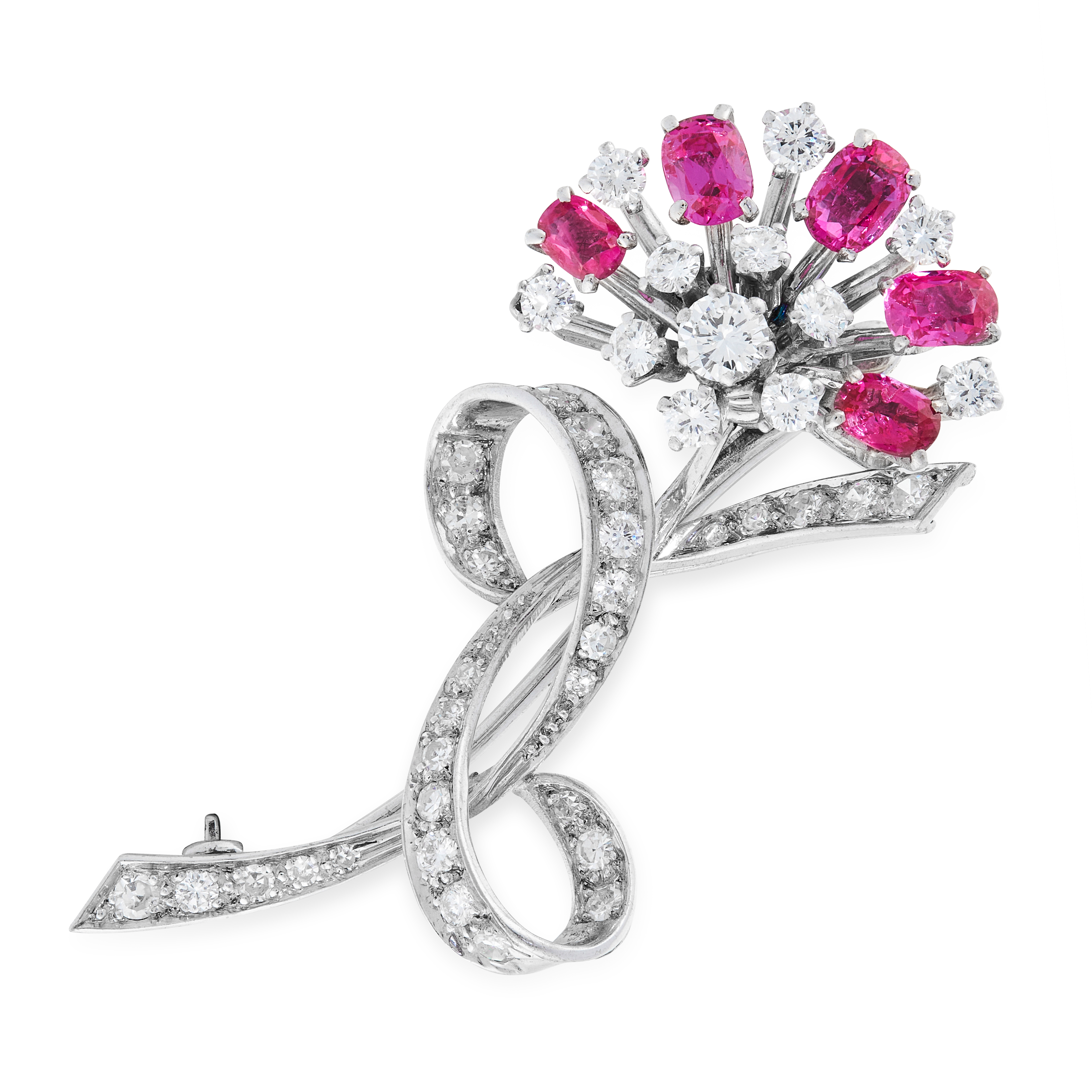 A VINTAGE BURMA NO HEAT RUBY AND DIAMOND BROOCH, H C LTD designed as a floral spray accented by