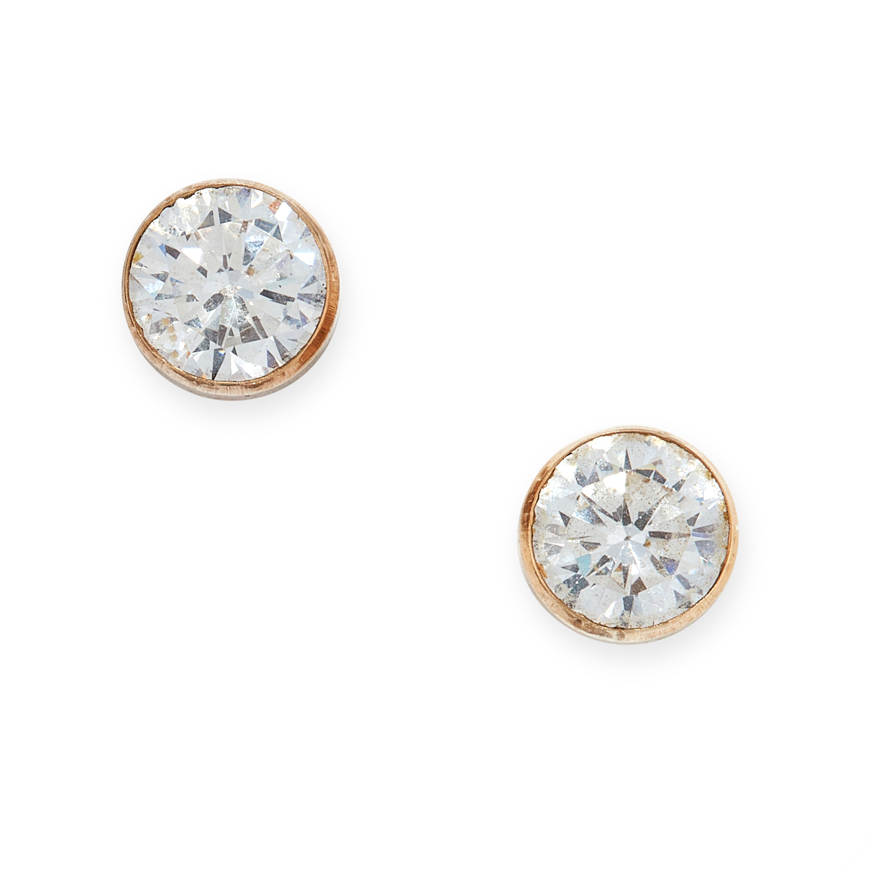 A PAIR OF GEMSET STUD EARRINGS each set with a round cut white gemstone, unmarked, 0.7cm, 1.0g.