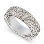 A DIAMOND ETERNITY BAND RING the band set with three rows of round cut diamonds, with further rows
