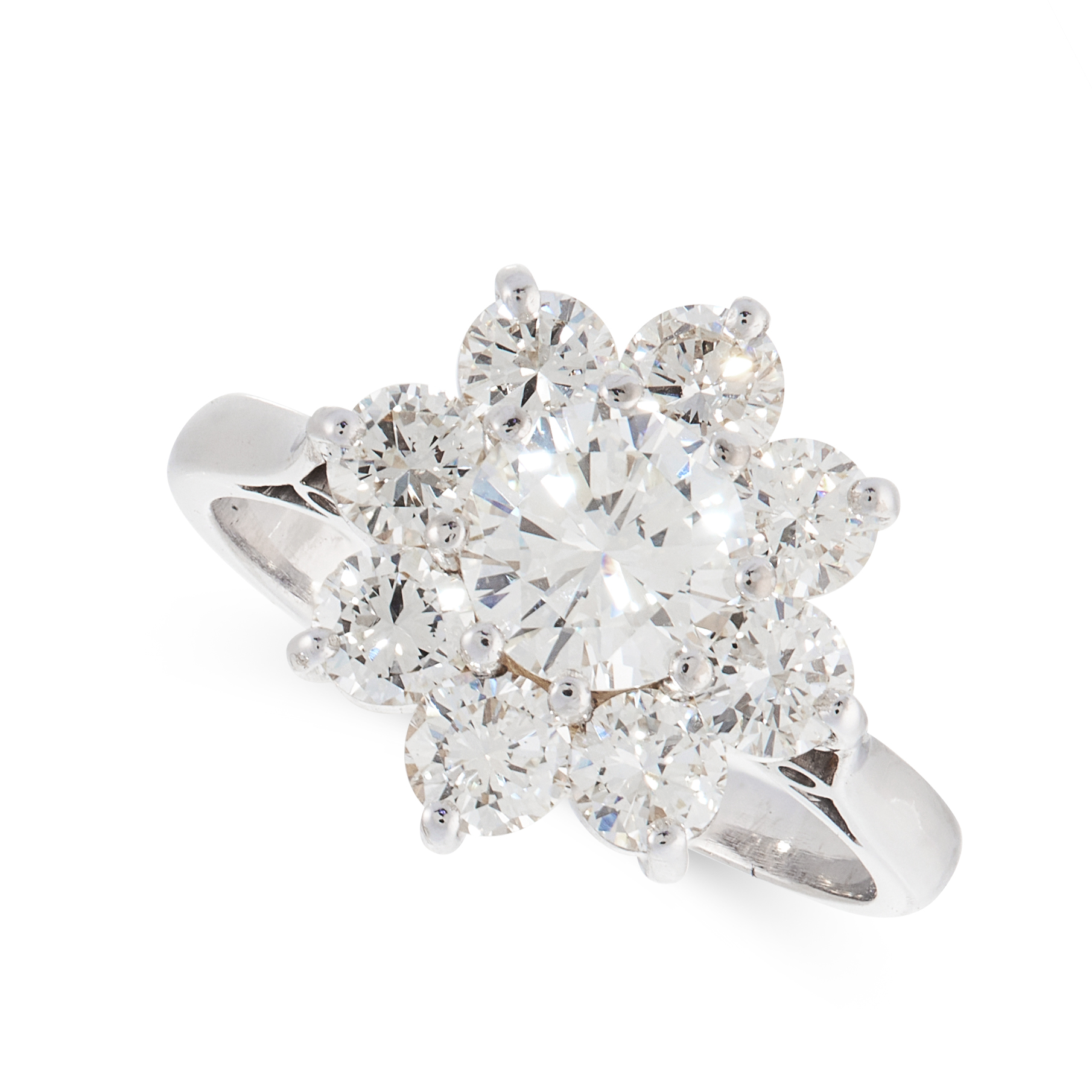 A DIAMOND CLUSTER DRESS RING in 18ct white gold, set with a round cut diamond of 0.97 carats, within