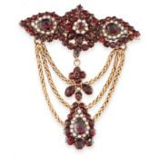 AN ANTIQUE GARNET AND PEARL BROOCH, 19TH CENTURY in yellow gold, designed as a trio of garnet and