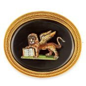 AN ANTIQUE MICROMOSAIC BROOCH, 19TH CENTURY in high carat yellow gold, of oval form, the body