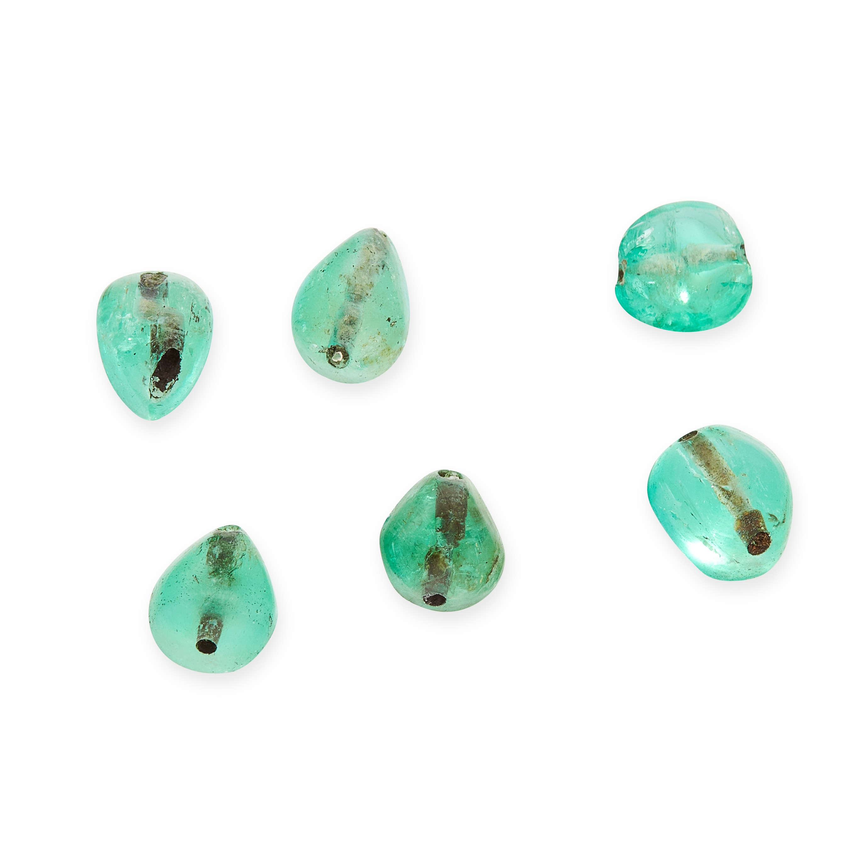 A MIXED LOT OF EMERALD BEADS totalling 7.19 carats.