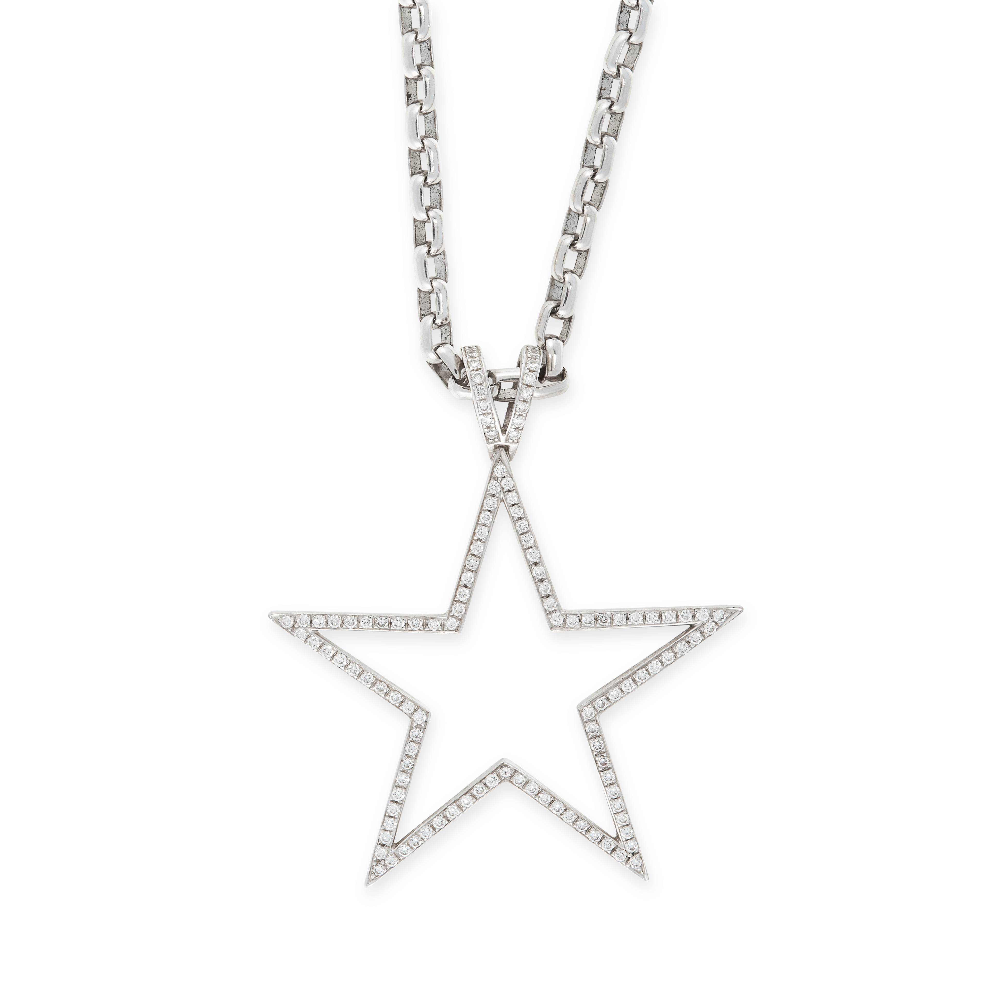 A DIAMOND STAR PENDANT AND CHAIN, THEO FENNELL in 18ct white gold, the pendant designed as the