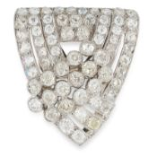 A DIAMOND CLIP BROOCH, CIRCA 1950 of shield design, set with rows of old cut and rose cut diamonds