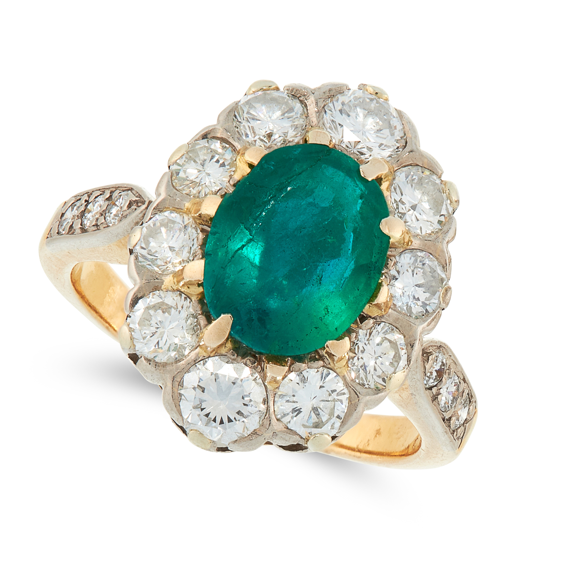 AN EMERALD AND DIAMOND DRESS RING in 18ct yellow gold, set with an oval cut emerald of 1.48 carats