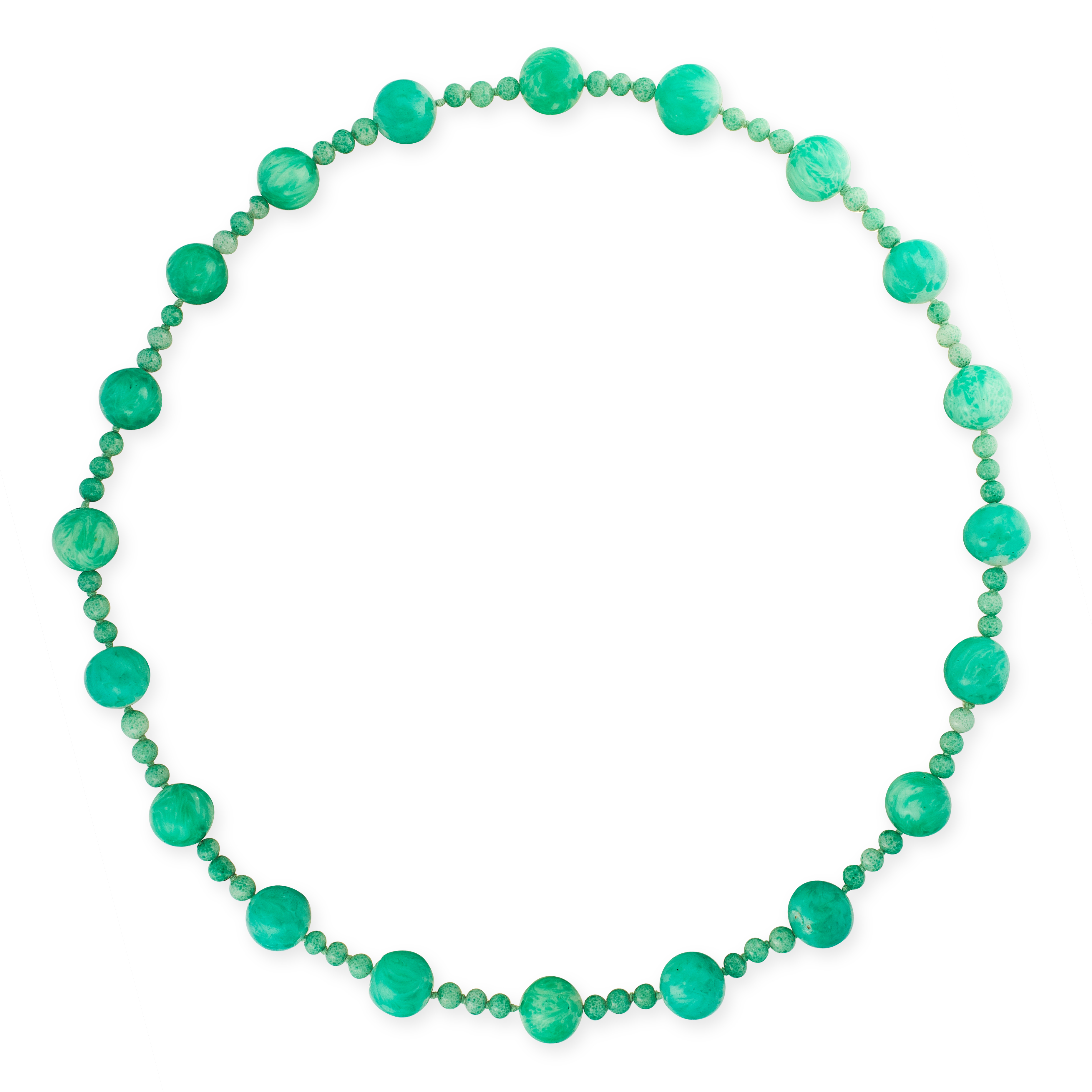 A GREEN HARDSTONE BEAD NECKLACE comprising a single row of twenty round polished green hard stone