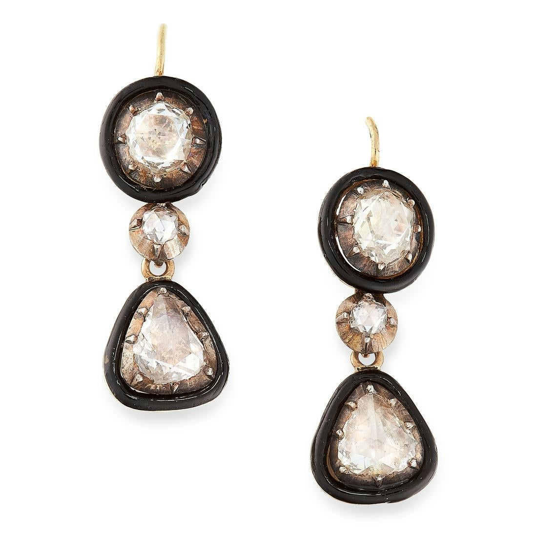 A PAIR OF ANTIQUE DIAMOND AND ENAMEL DROP EARRINGS in high carat yellow gold and silver, each set
