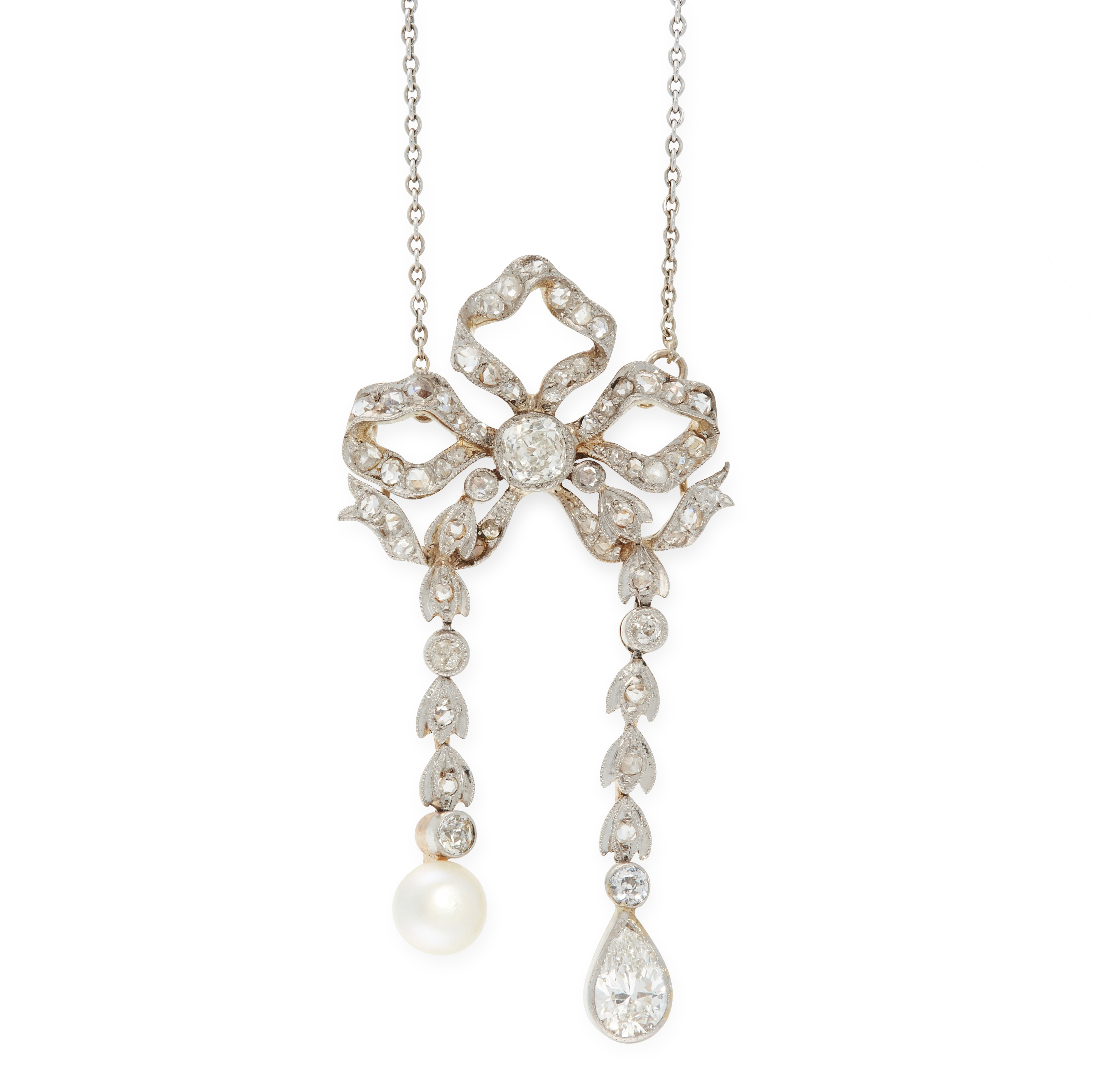 A PEARL AND DIAMOND LAVALIER NECKLACE, EARLY 20TH CENTURY in 18ct yellow and white gold, designed as