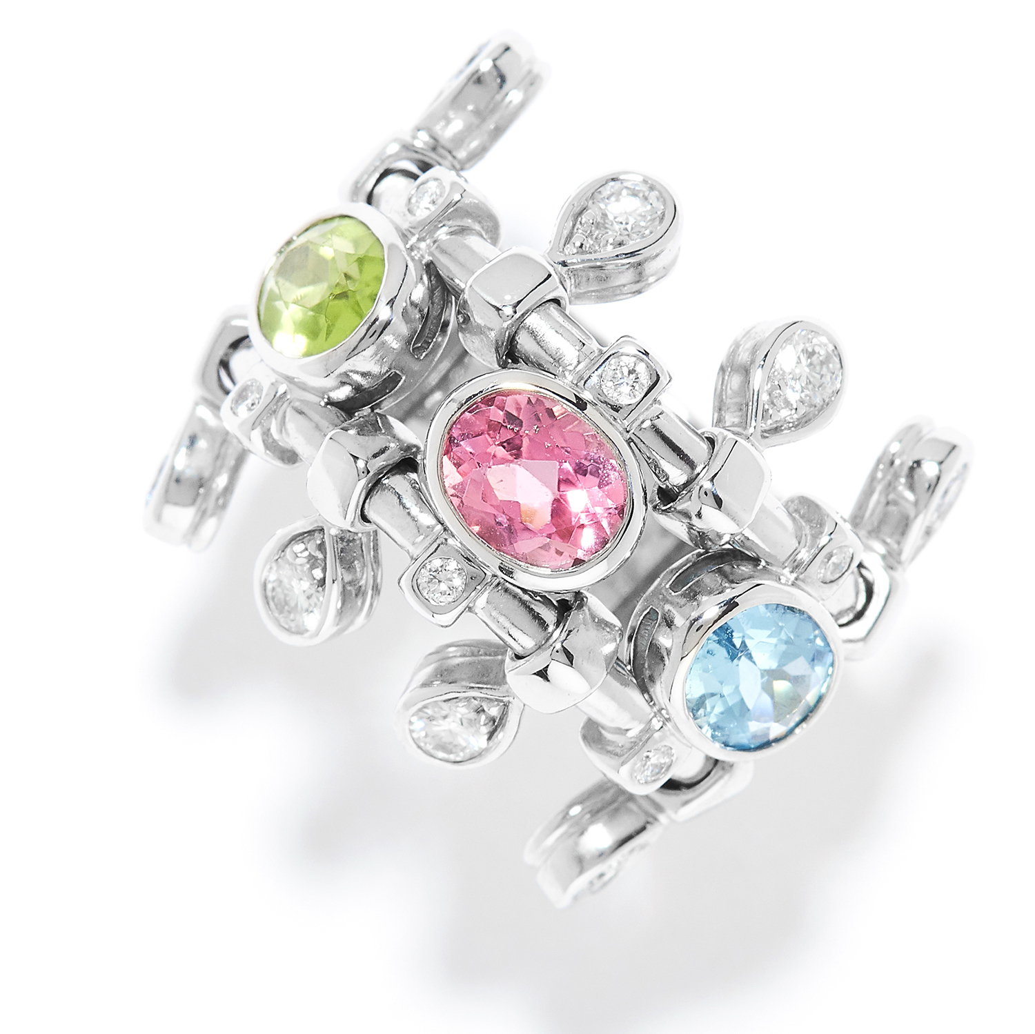 AN AQUAMARINE, TOURMALINE, PERIDOT AND DIAMOND RING, DIOR in 18ct white gold set with oval cut