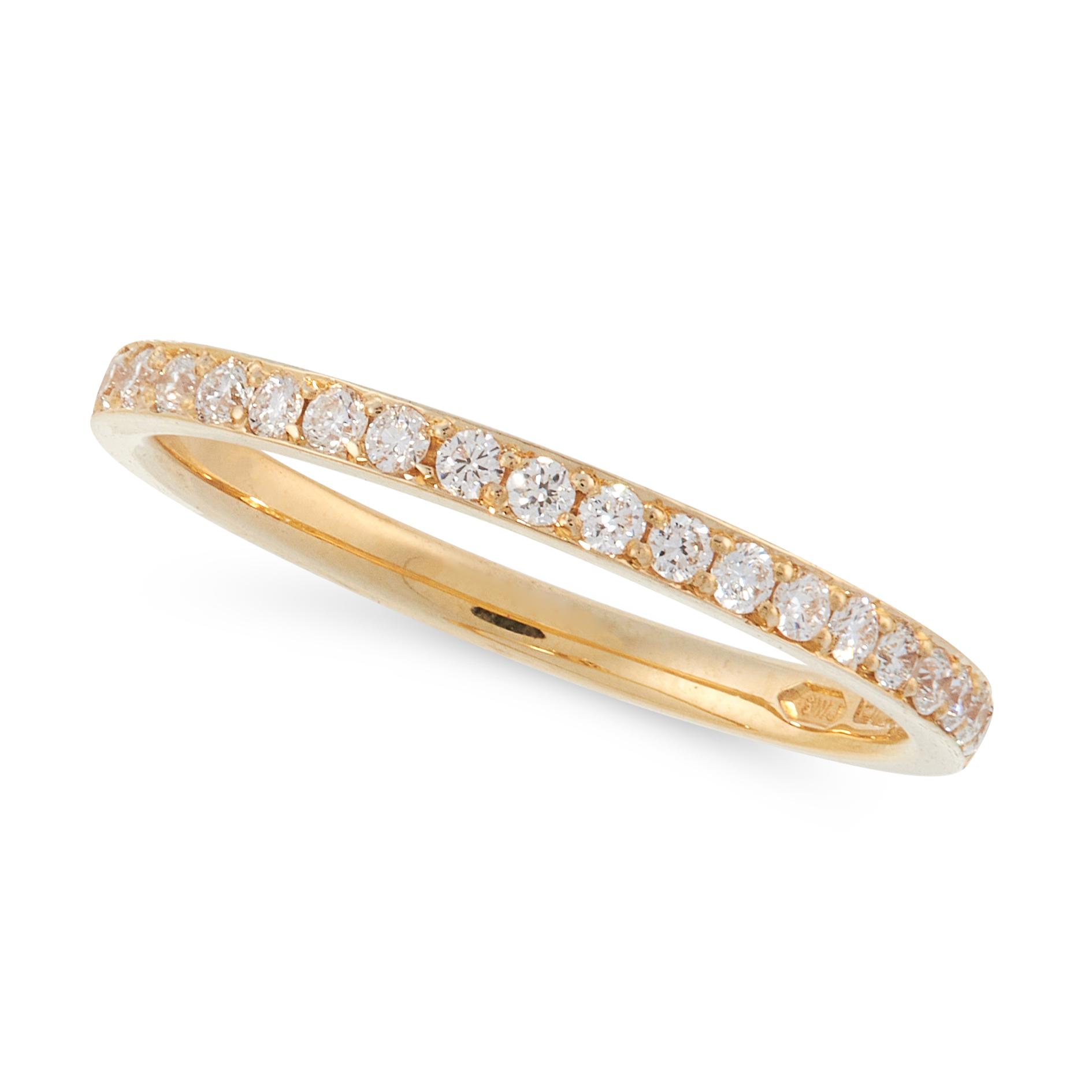 A DIAMOND HALF ETERNITY RING in 18ct yellow gold, half set with round cut diamonds, British