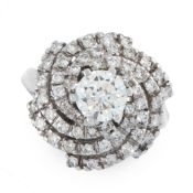 A DIAMOND DRESS RING in 18ct white gold, set with a central round cut diamond of 1.08 carats in a
