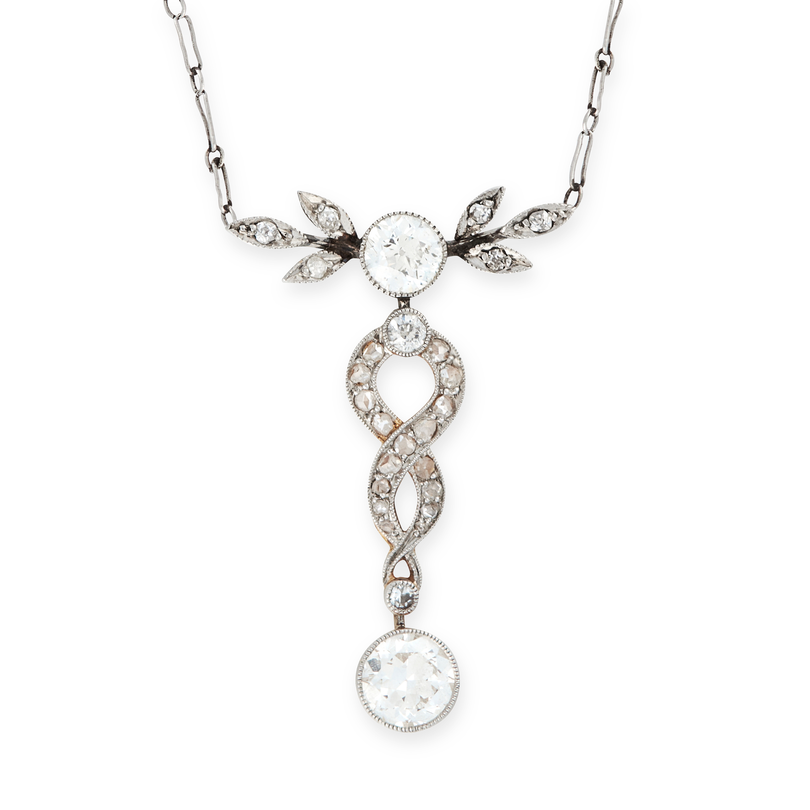 A DIAMOND PENDANT NECKLACE, EARLY 20TH CENTURY set with two principal old cut diamonds accented by