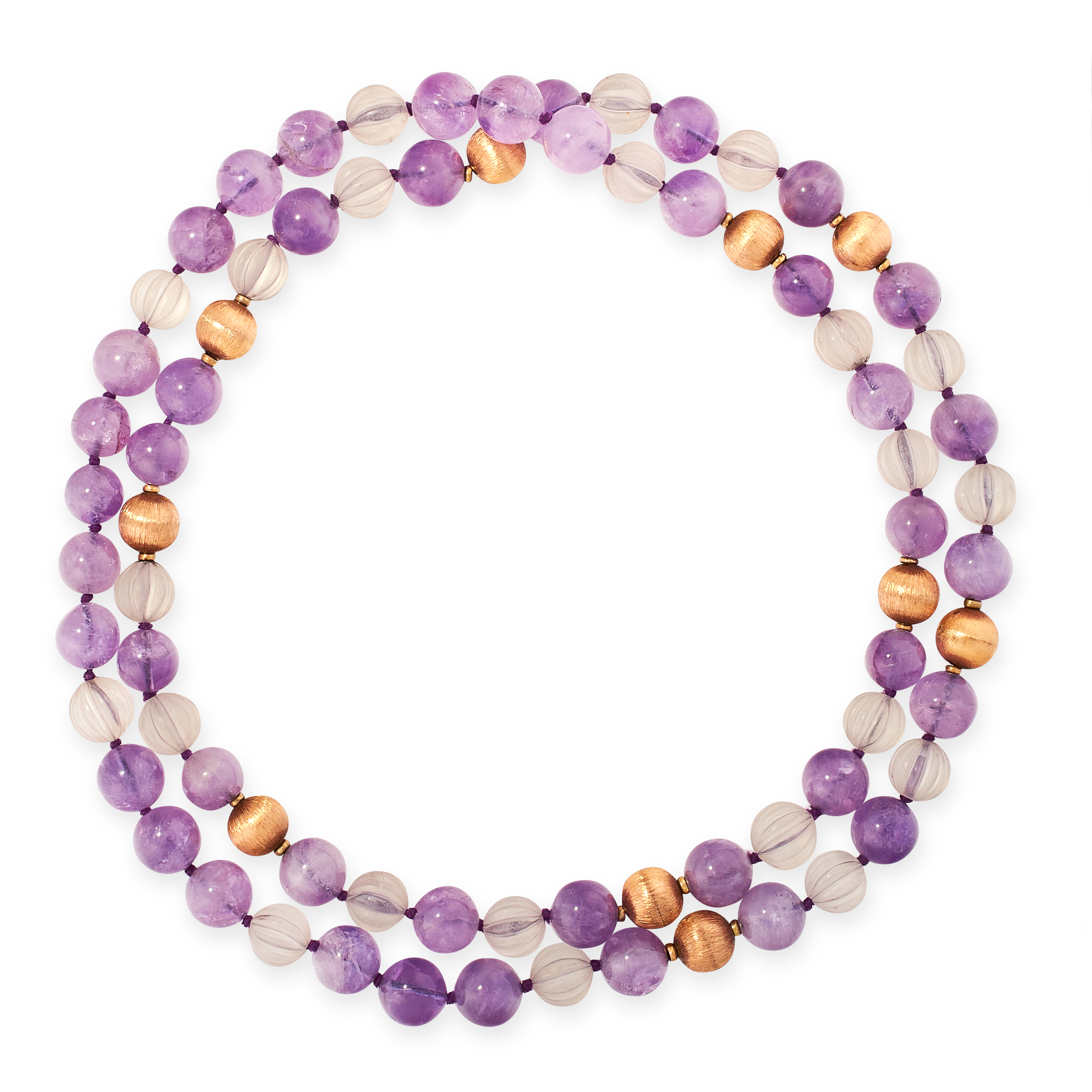 AN AMETHYST AND ROCK CRYSTAL BEAD NECKLACE in yellow gold, comprising a single row of polished