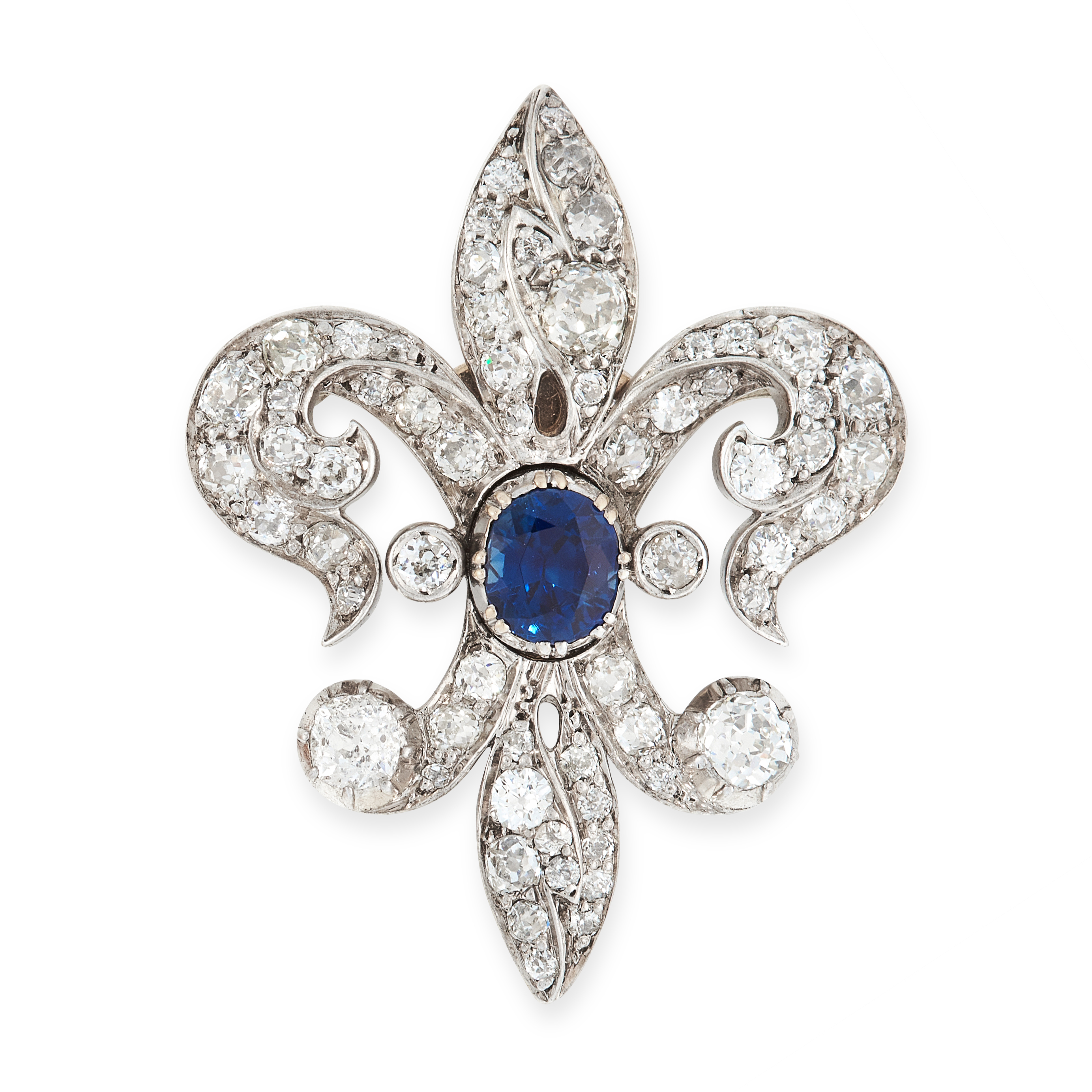 A SAPPHIRE AND DIAMOND FLEUR-DE-LIS BROOCH, EARLY 20TH CENTURY designed as a stylised lily, set with