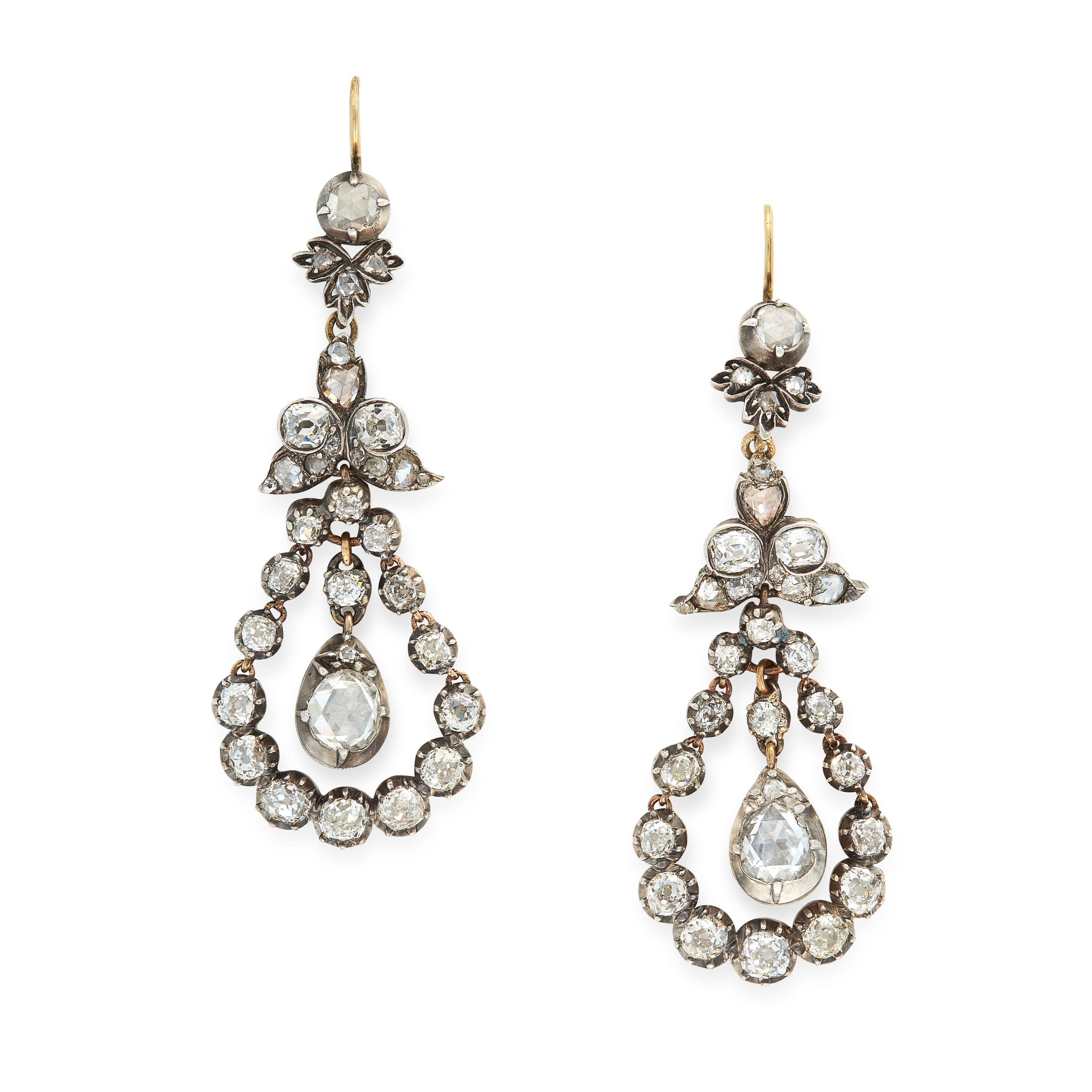A PAIR OF ANTIQUE DIAMOND DROP EARRINGS, 19TH CENTURY in yellow gold and silver, the articulated