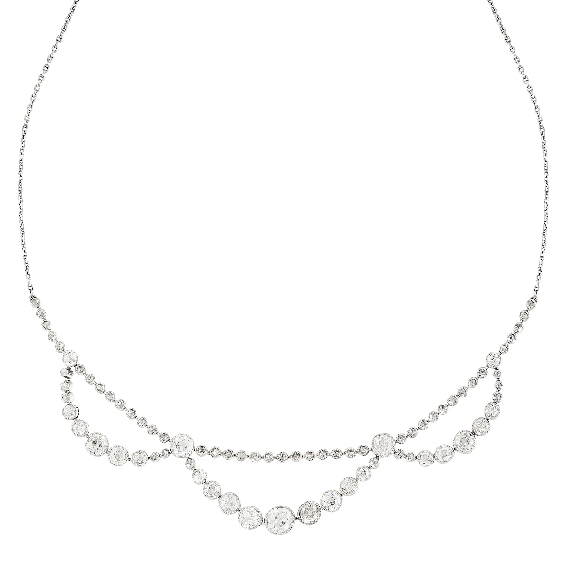 AN ART DECO DIAMOND NECKLACE, EARLY 20TH CENTURY set with a row of rose cut diamonds, suspending