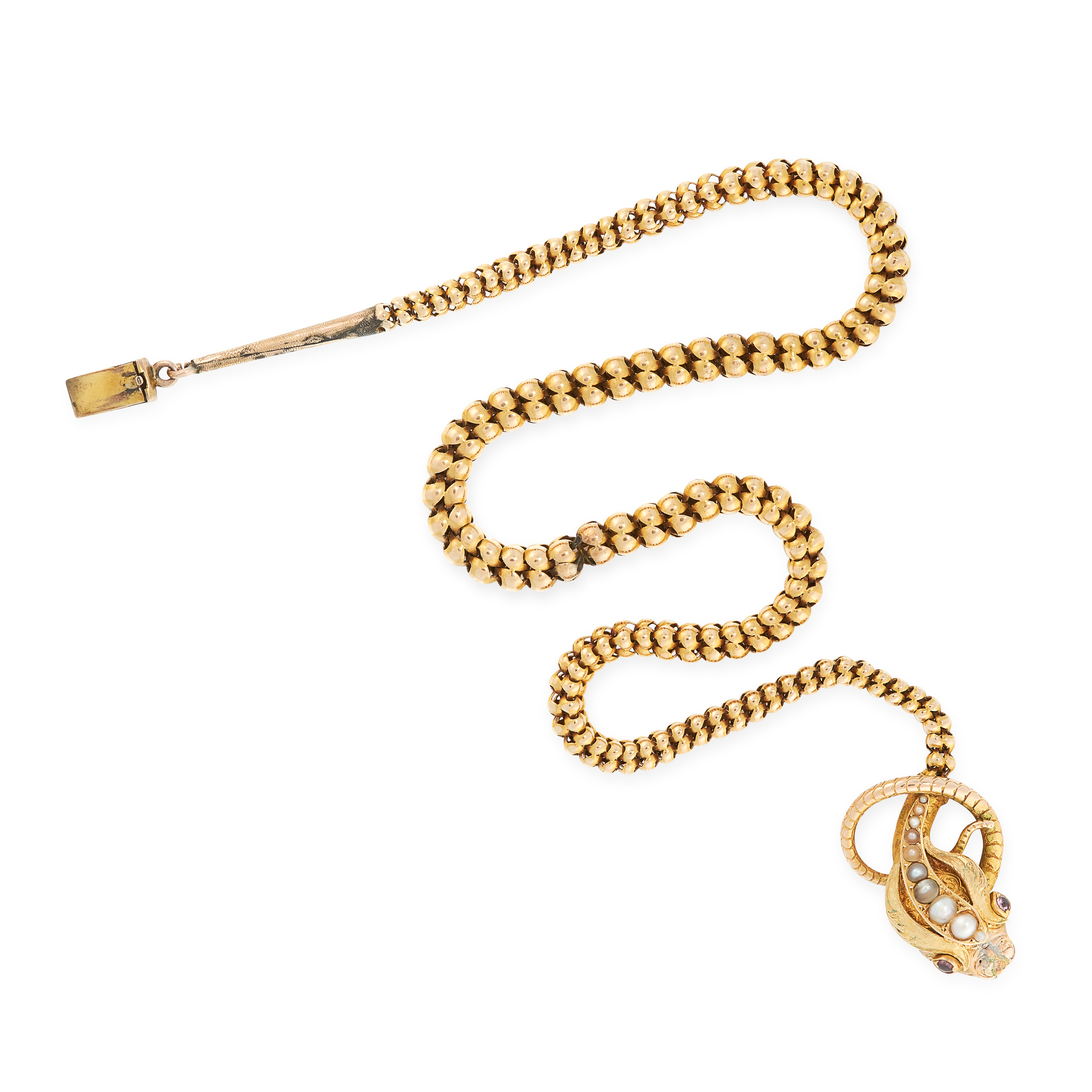 AN ANTIQUE GARNET AND PEARL SNAKE NECKLACE, 19TH CENTURY in yellow gold, designed as the body of a