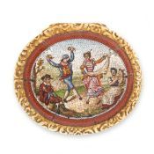 AN ANTIQUE MICROMOSAIC VINAIGRETTE BOX, 19TH CENTURY the oval body with engine turned decoration