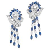 A PAIR OF SAPPHIRE AND DIAMOND PENDENT CLIP EARRINGS in 18ct white gold and platinum, each